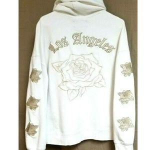 PacSun Hoodie Womens White Floral Logo Roses Boxy
